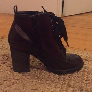 Maroon heeled ankle boots